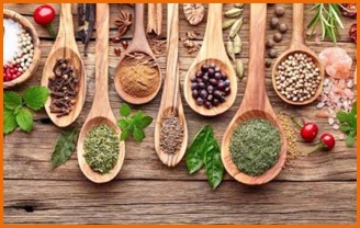 spices on wooden spoons