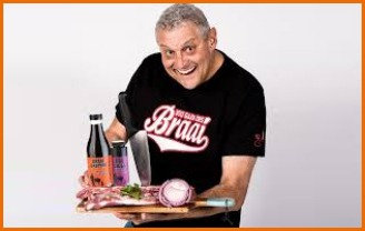 Barry Hilton carrying Nou Gaan Ons Braai marinades and spices