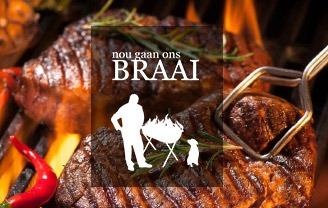 Nou Gaan Ons Braai Logo with Meat