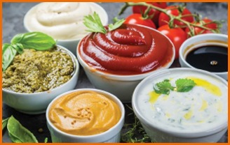 bowls of sauces