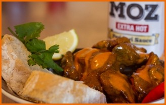 chicken livers and bread with MOZ peri peri sauce