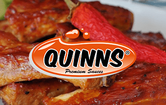 Quinns logo on ribs and chilli