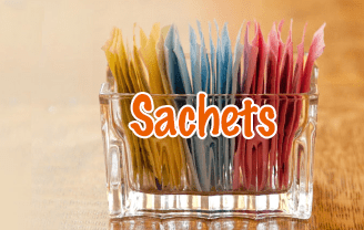 Sachets in a glass dish