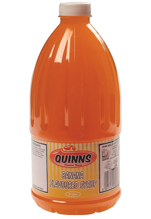 Quinns banana flavoured syrup in 2 litre bottle
