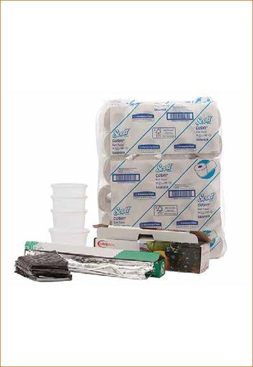tinfoil, tubs, toilet paper