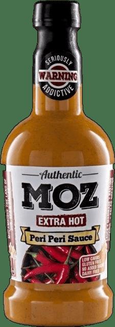 Moz extra hot peri peri sauce in glass bottle