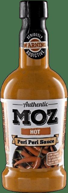 Moz hot peri peri sauce in glass bottle