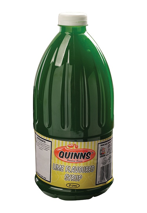 Quinns lime flavoured syrup in 2 litre bottle