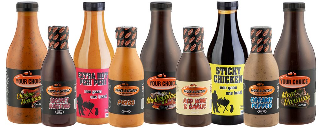 various marinades in bottles