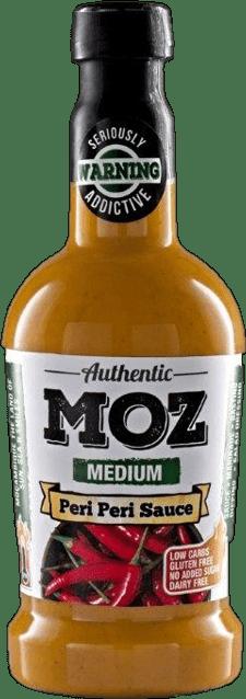 Moz medium peri peri sauce in glass bottle