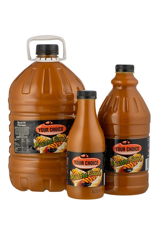 Your Choice Mustard Sauce in different size bottles