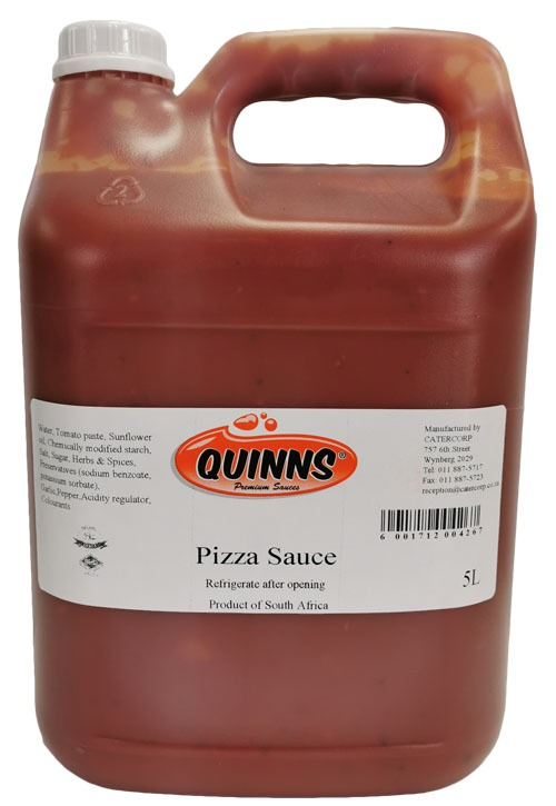 Quinns pizza sauce in 5 litre jerry can
