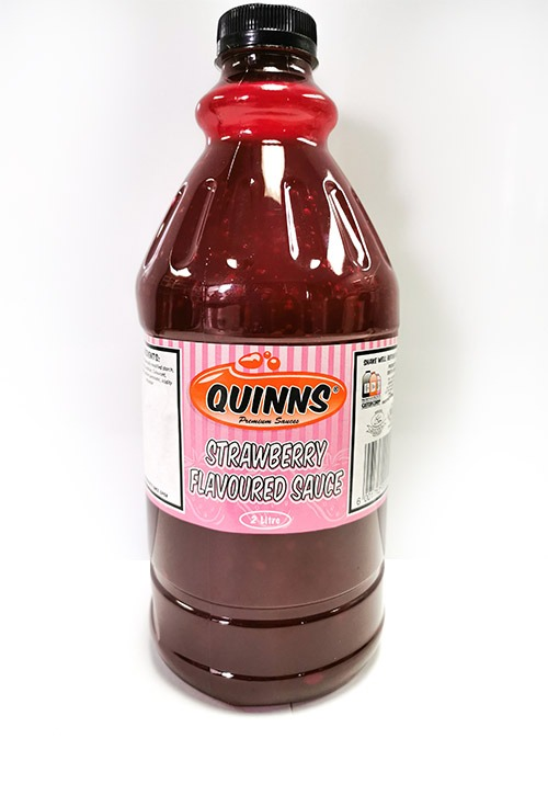 Quinns strawberry flavoured sauce in 2 litre bottle