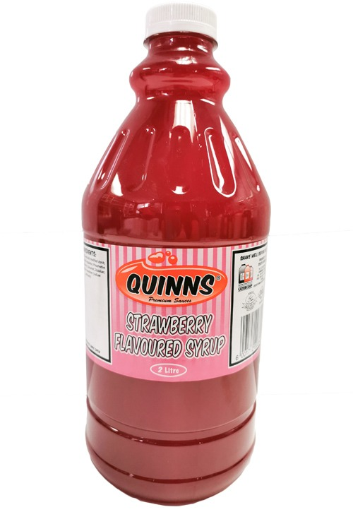 Strawberry flavoured syrup in 2 litre bottle