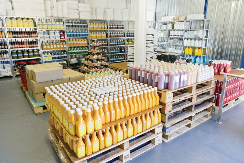 lots of sauces in Catercorp warehouse