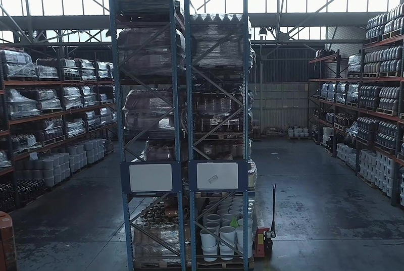 Warehouse with stock of sauces