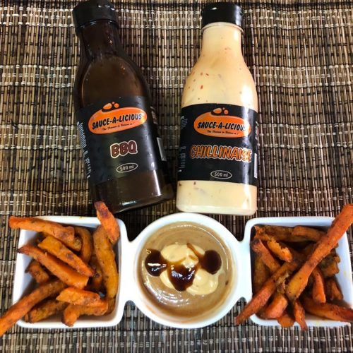 Sweet potato chips and sauces