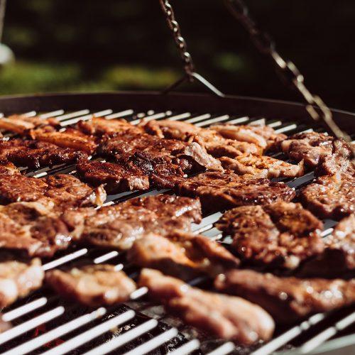 grilled pork on braai