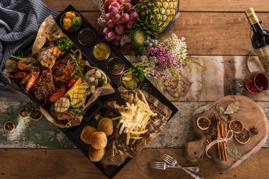 Various food on a board