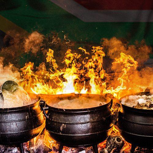 four black metal cooking wares