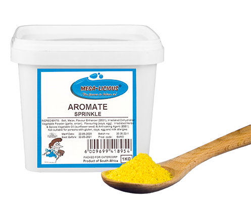 Megalicious Aromate Sprinkle in 1kg bucket and spice on wooden spoon