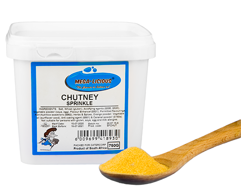 Megalicious Chutney Sprinkle in 750g bucket and spice on wooden spoon