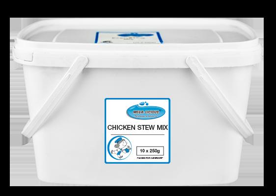 Megalicious Chicken Stew Mix sachets in bucket