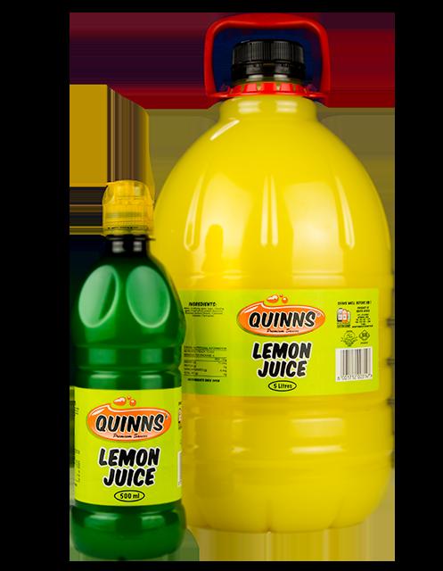 Quinns Lemon Juice in 750ml and 5L bottles