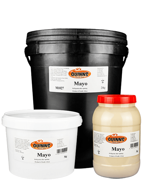 Quinns mayo in a variety of sized buckets