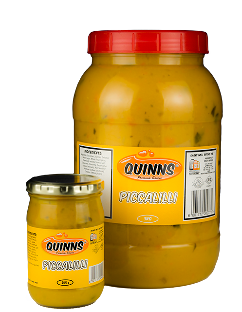 Quinns Piccalilli Sauce in 265g and 3kg bottle