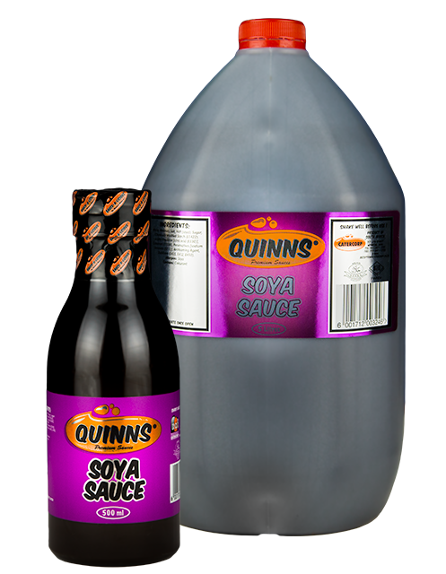 Quinns Soya Sauce in 500ml and 5L bottles