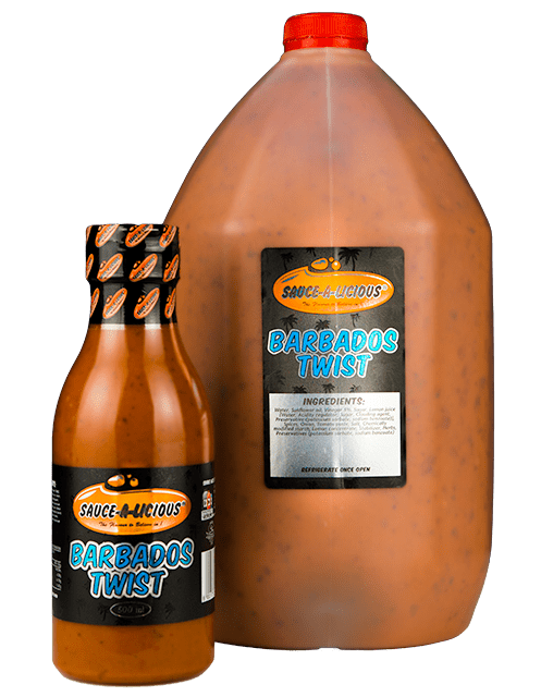 Sauce-a-licious Barbados Twist in 500ml and 5L bottles