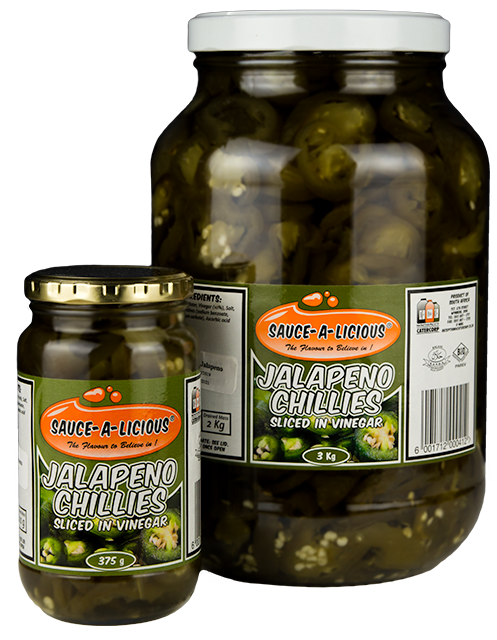 Sauce-a-licious Jalapeno Chillies Sliced in 375g and 3kg glass jars