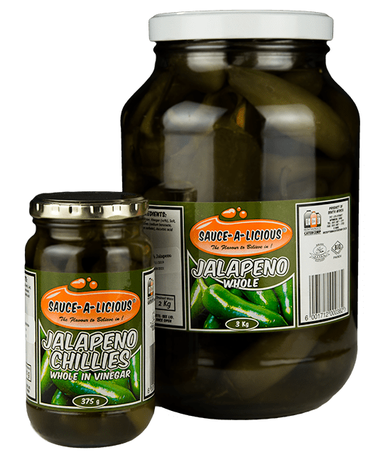 Sauce-a-licious Jalapeno Chillies Whole in 375g and 3kg glass jars