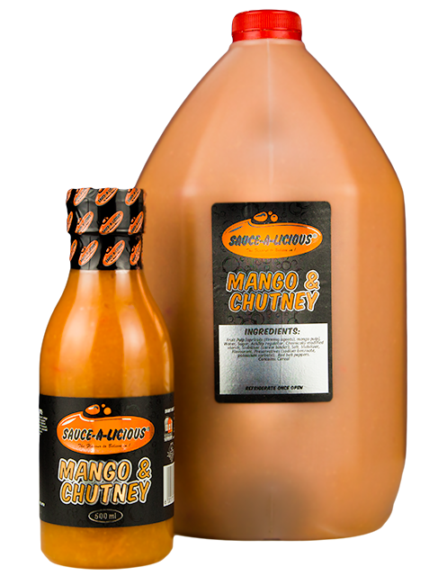 Sauce-a-licious Mango & Chutney sauce in 500ml and 5L bottles