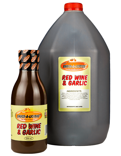 Sauce-a-licious Red Wine & Garlic sauce in 500ml and 5L bottles